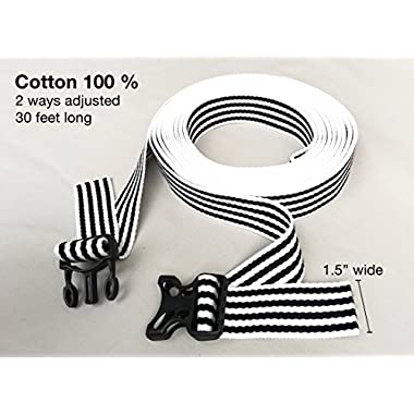 BED SUSPENDER 30 ft. (360 inches) COTTON 100% Twin to King Mattress Connecting Strap/Twin Mattress Securing Bed Strap /Twin Bed Connector/Bed Bridge With Adjusting Safety Strap. (Black/White)