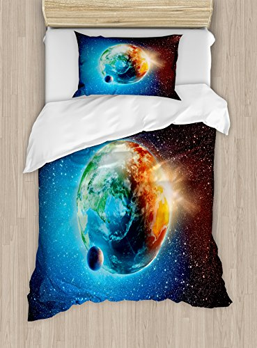 Ambesonne Earth Duvet Cover Set Twin Size, Majestic Galaxy Outer Space View Universe with Planet Earth Stars Astral Theme, Decorative 2 Piece Bedding Set with 1 Pillow Sham, Orange Black