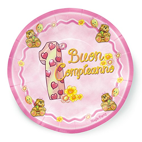 magic Party pep05–In Christening Paper Plate Diameter 21cm, Pack of 10, Pink
