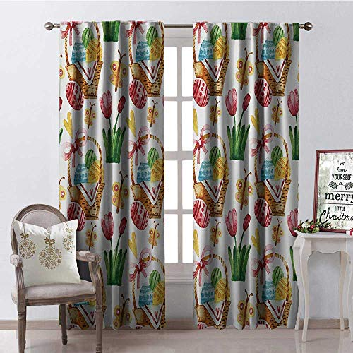 Hengshu Happy Easter Watercolor Tulips Easter Eggs Butterfly 9 Blackout Window Curtain Customized Curtains W108 x L108