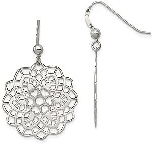 925 Sterling Silver Textured Flower Drop Dangle Chandelier Earrings Gardening Fine Jewelry For Women