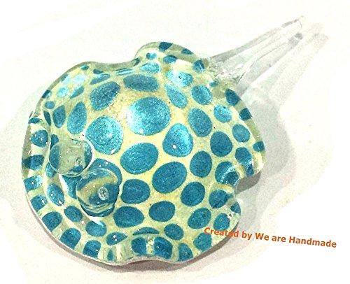 Handmade Mini Sky Blue Stingray Art Glass Blown Sea Animal Figurine - Model - Glass Stingray