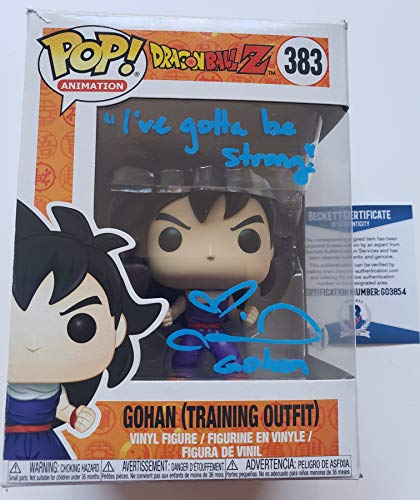 Colleen Clinkenbeard autographed Funko Pop Figure Beckett Dragon Ball Z Kai Gohan Training Outfit with Quote