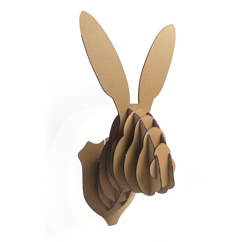 Paper Maker DIY cartone coniglio testa supporto da parete testa di animale coniglietto pasquale decorazione da parete (piccoli) Brown 1 ZS201301501
