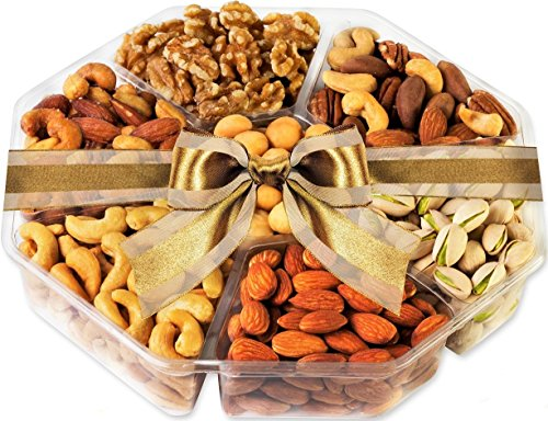 7 Section Assorted Nut Gift Platter – Raw, Roasted, Salted, and Honey Glazed Variety Pack in Gift Basket with Ribbon – by Nut Lovers Choice