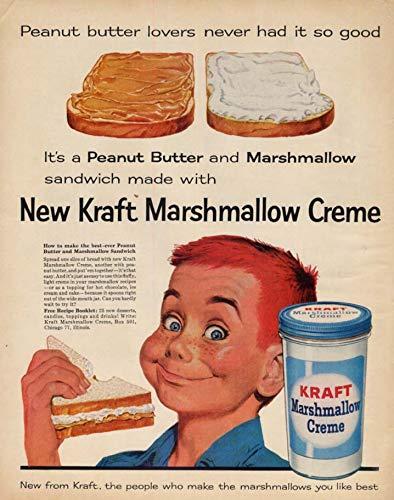 Peanut Butter & Marshmallow Sandwich Kraft Marshmallow Crème ad 1960 LK