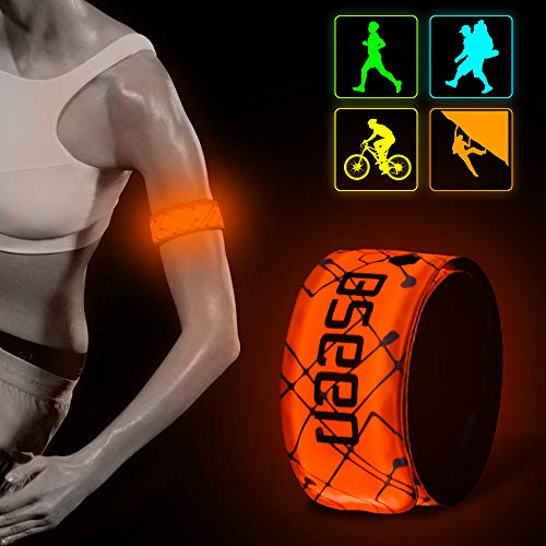 BSEEN LED Armband 2 Pack LED Slap Bracelets, Adjustable Strap Safety Light Armbands Glow in The Dark Night Running Gear for Walking, Cycling, Camping Outdoor Sports (Orange-DesignⅠ)