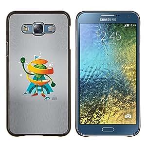 Qstar Arte & diseño plástico duro Fundas Cover Cubre Hard Case Cover para Samsung Galaxy E7 E700 (Naranja del remolino de Hombre)
