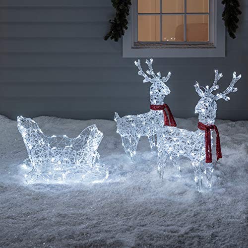Lights4fun, Inc. Battery Operated Reindeer & Sleigh Acrylic Christmas Light Up Figures Decoration (Up Light Reindeer Christmas)