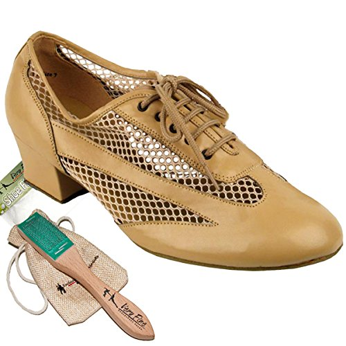 Women's Ballroom Dance Shoes Salsa Latin Practice Dance Shoes Beige brown Leather 2009EB Comfortable - Very Fine 1.5'' Heel 8.5 M US [Bundle of 5] by Very Fine Dance Shoes