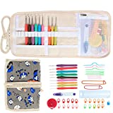 Damero Ergonomic Crochet Hooks Set, Travel Canvas Roll Organizer with 9pcs 2mm to 6mm Soft Grip Crochet Hooks and Complete Knitting Accessories, All in One, Easy to Carry, Cartoon Dogs