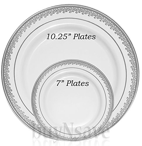 Previous · / Next  sc 1 st  Compostable Plates & buyNsave White with Silevr Heavyweight Plastic Elegant Disposable ...
