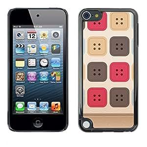 TopCaseStore / la caja del caucho duro de la cubierta de protección de la piel - Sewing Uniform Pattern Beige - Apple iPod Touch 5