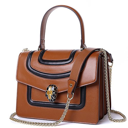 MIMI KING Moda Hombro Messenger Bags Bolso De Cuero Genuino Para Mujeres Individuality Lock Cadena Correa,Red Brown