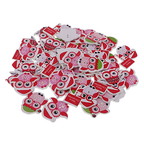 (50Pcs Mixed Christmas Owls Wooden Buttons 2 Holes DIY Cards Sewing Crafts)