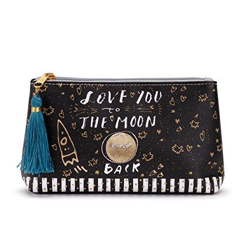 Love You to Moon Back Stars Ship Women's 8 x 5 Inch Vegan Leather Zipper Cosmetic Bag Pouch