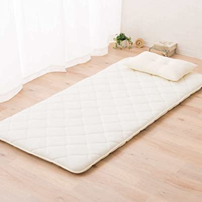 EMOOR Japanese Floor Futon Mattress CLASSE, Twin-Long Size (39x83in), White, Made in Japan, Foldable Sleeping Bed Tatami Mat Pad Cotton Topper
