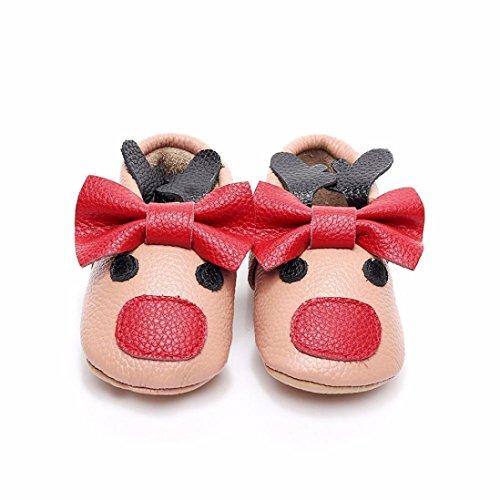 Clode® Baby Kleinkind Neugeborene Mädchen Jungen Cartoon Bowknot Weiche Sohle Hirsche Freizeitschuhe Khaki