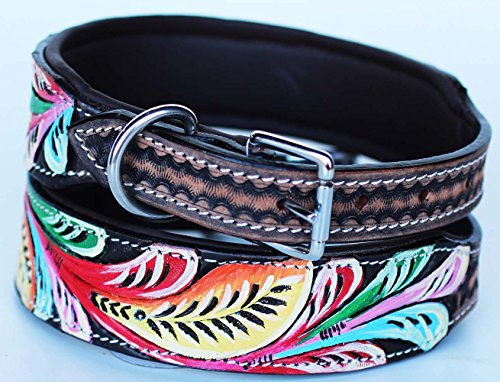 PRORIDER Large 21''- 25'' Rhinestone Dog Puppy Collar Crystal Cow Leather 6011