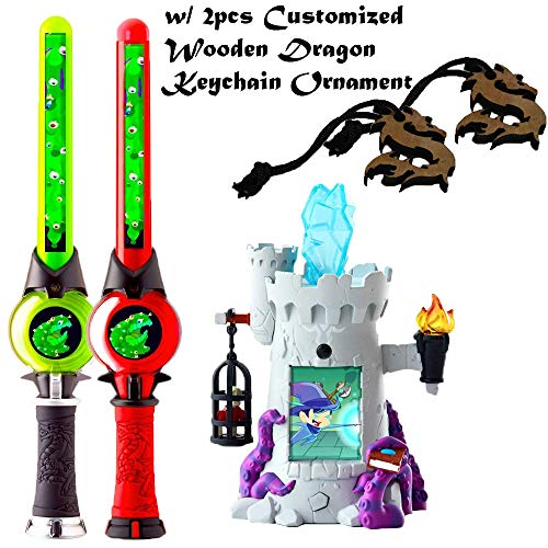 hyelloss 2pk of Dragons Fairies and Wizard Lightning Hand Held Wand and 1 Grey Wizard Tower PlaySet with 2pk Wood Dragon Keychain Ornament, and Playset for Kids, Accessories for Backpack Ornament
