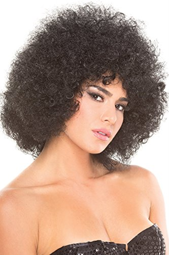 Rave Wonderland Women's Black Afro Foxy Wig One ()