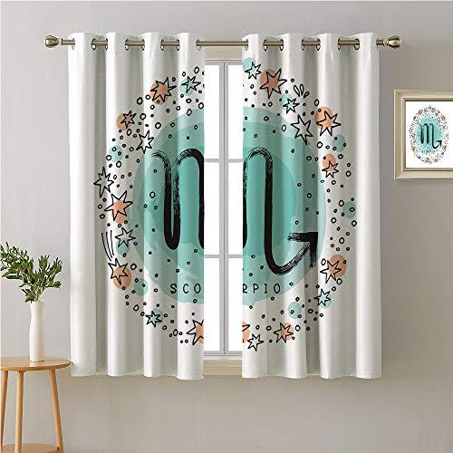 Jinguizi Scorpio Grommet Curtain for Living Room,Zodiac Arrangement Doodle Style Constellation Pattern,Soft Darkening Curtains,72W x 45L