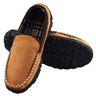 LA PLAGE Men's Advanced Anti-Slip Indoor/Outdoor Moccasin Slippers with Hardsole Size 8 US CamelBrown