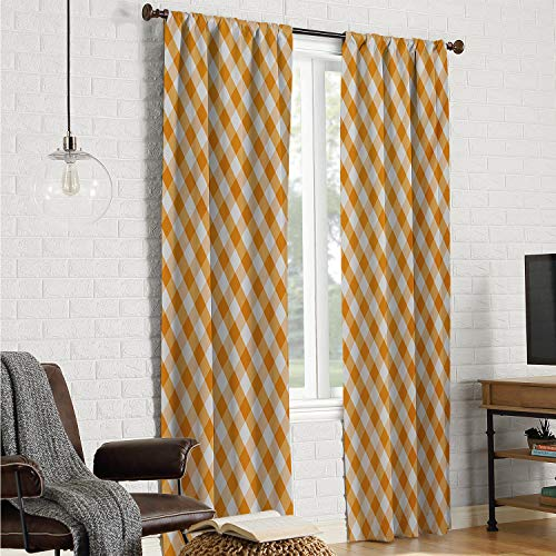 - Mozenou Blackout for Bedroom soundproof Curtain Checkered,Cross Weave Gingham Pattern in Orange and White Old Fashioned Classical Tile,Orange White W108 x L84 Inch
