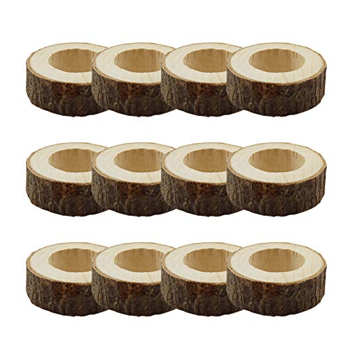 JINMURY Handcrafted Rustic Wood Napkin Rings for Dinner Table Decoration Wedding Party Decor, Set of 12