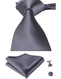 Mens Gray Tie Set Woven Silk Necktie Tie Handkerchief Cufflinks
