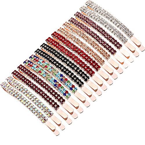 16 Pieces Rhinestone Crystal Bobby Pins Double Row Rhinestone Hair Barrette Clip Metal Hair Pins for Women Girls (Style A)]()