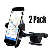 [2Pack] One hand,iBarbe Car Mount Universal Phone Holder Windshield Mount/Dashboard Bracket with Adjustable Arm for iPhone X 8/8 Plus 7 7 Plus 6s Plus 6s 6 Samsung Galaxy S8 Plus S8 Edge S7 S6 Note 8