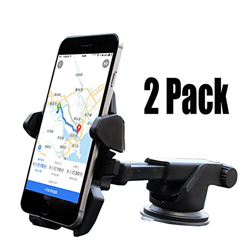 Cobb Tuning Wrx - [2Pack] One Hand, Car Mount Universal Phone Holder Windshield Mount/Dashboard Bracket with Adjustable Arm for iPhone Xs MAX XR,X 8/8 Plus 7 7 Plus 6s Plus 6s 6 Samsung Galaxy S8 Plus S8 Edge -Black