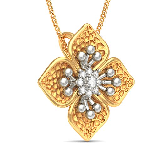 Or jaune 18 K 0.11 CT TW Round-cut-diamond (IJ | SI) Pendentif