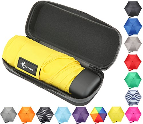 Travel Umbrella with Waterproof Case - Small, Compact Umbrella for Backpacks, Purses, Briefcases or Cars - Versatile, Unisex Design - Made with Water-Resistant Pongee Fabric - Premium Quality - Yellow