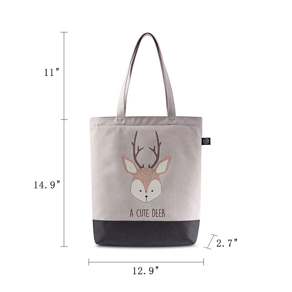 BYE Women Canvas Handbag Cute Shoulder Bag Tote Satchel Big Tote Bag