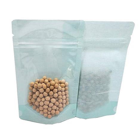 Amazon.com: 50 bolsas de papel Kraft transparentes con ...