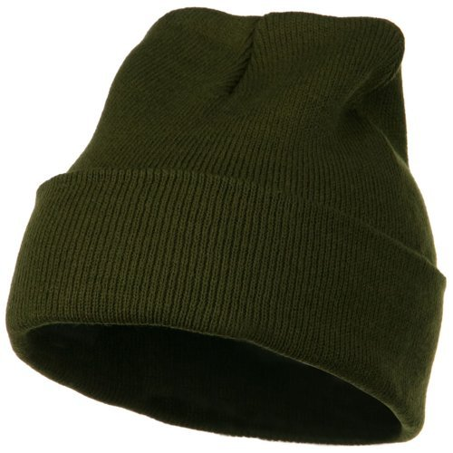 MG 12 Inch Long Knitted Beanie - Olive OSFM