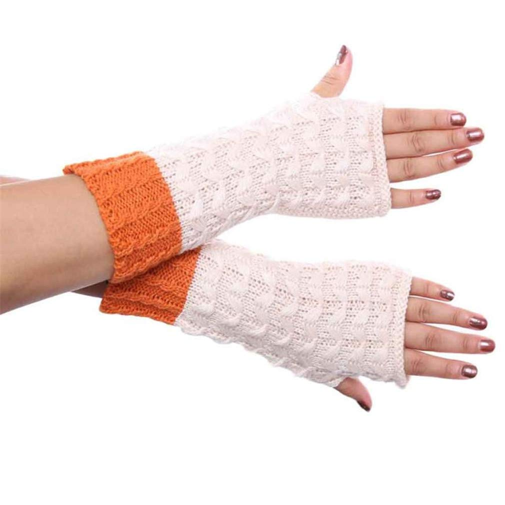 Lerdon Fashion Pineapple Knitted Gloves Women Winter Outdoor Keep Warm Mittens Women Sports Fingerless Gloves