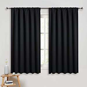 PONY DANCE Bedroom Blackout Curtains - Light Block Solid Soft Rod Pocket Energy Efficient Thermal Insulated Blackout Curtain Panels/Window Drapes for Home Decor, 52 by 45 in, Black, 2 Pieces