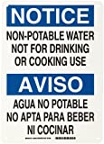 """Brady 38581 10"""" Width x 14"""" Height B-555 Aluminum, Blue and Black on White Bilingual Sign, English and Spanish, Header """"Notice/Aviso"""", Legend """"Non-potable Water not for Drinking or Cooking Use/Agua no Potable no Upta para Beber ni Cocinar"""""""
