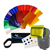 LS Photography 20 Color Flash Light Filter Kit, Transparent Color Correction Lighting Gel for Any Flash, LED Light, Lighting Fixture, LGG630