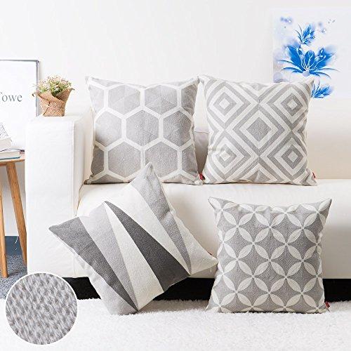 baibu Cotton Geometric Throw Pillow Embroidery Cushion Cover 18x18 inch Muticolor 4PCS
