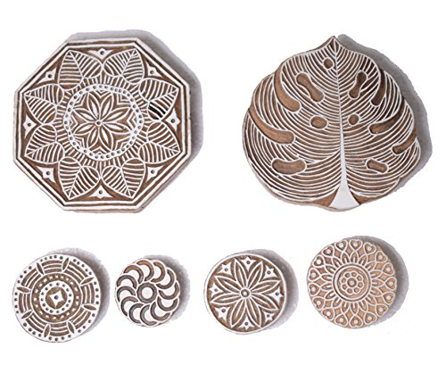 Hashcart Printing Stamp Mughal Design Wooden Blocks (Set of 6) Hand-Carved for Saree Border Making Pottery Crafts Textile ()
