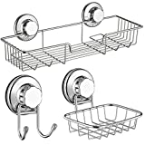 SANNO Bath Shower Caddy/Soap Dish/Double Bath Hook-Bath Organizer Kitchen Storage Basket for Shampoo, Conditioner, Soap- Anti Rust stainless steel (set of 3)