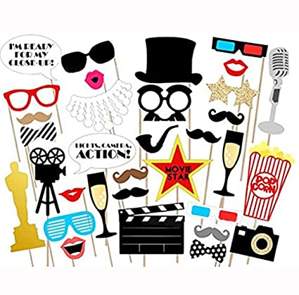 14a71ca869bb Losuya Funny Photo Booth Props Kit Paper Movie Night Hollywood Party  Photobooth Props for Wedding