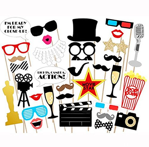 Losuya Funny Photo Booth Props Kit Paper Movie Night Hollywood Party Photobooth Props for Wedding, Birthday, Bachelorette Party 33pcs DIY Funny Mustache, Glasses, Lips, Movie Sign and Clapboard
