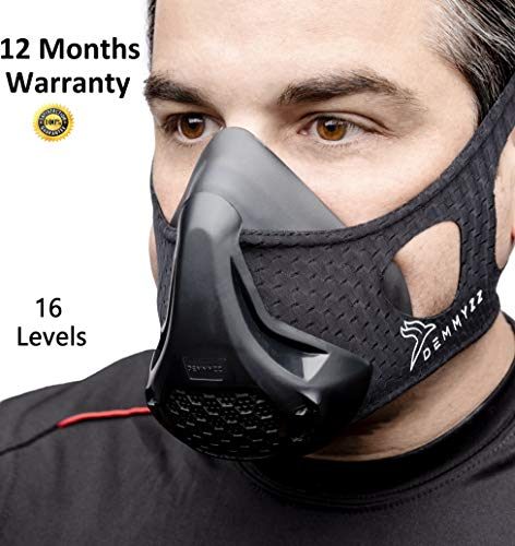 Workout Mask - Training Elevation Masks | High Altitude | Oxygen Breathing | For Running Exercise Sports Fitness Cardio Resistance Biking Deprivation Gym sport | 16 Levels For Men & Women
