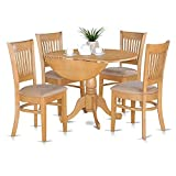 East West Furniture DLVA5-OAK-C 5-Piece Kitchen Table Set, Oak Finish, Microfiber Upholstered Seat,