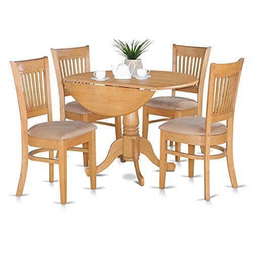 East West Furniture DLVA5-OAK-C 5-Piece Kitchen Table Set, Oak Finish, Microfiber Upholstered ()